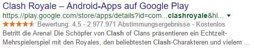 Beispiel für Rich Snippet Informationen über eine App
