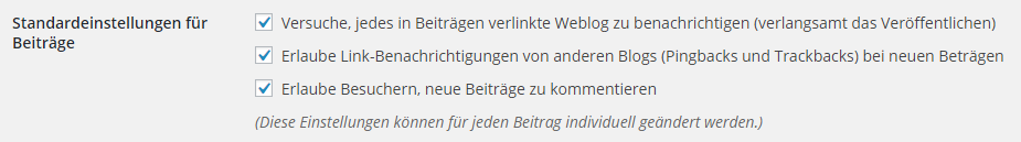 Screenshot: Pingback Einstellungen in WordPress