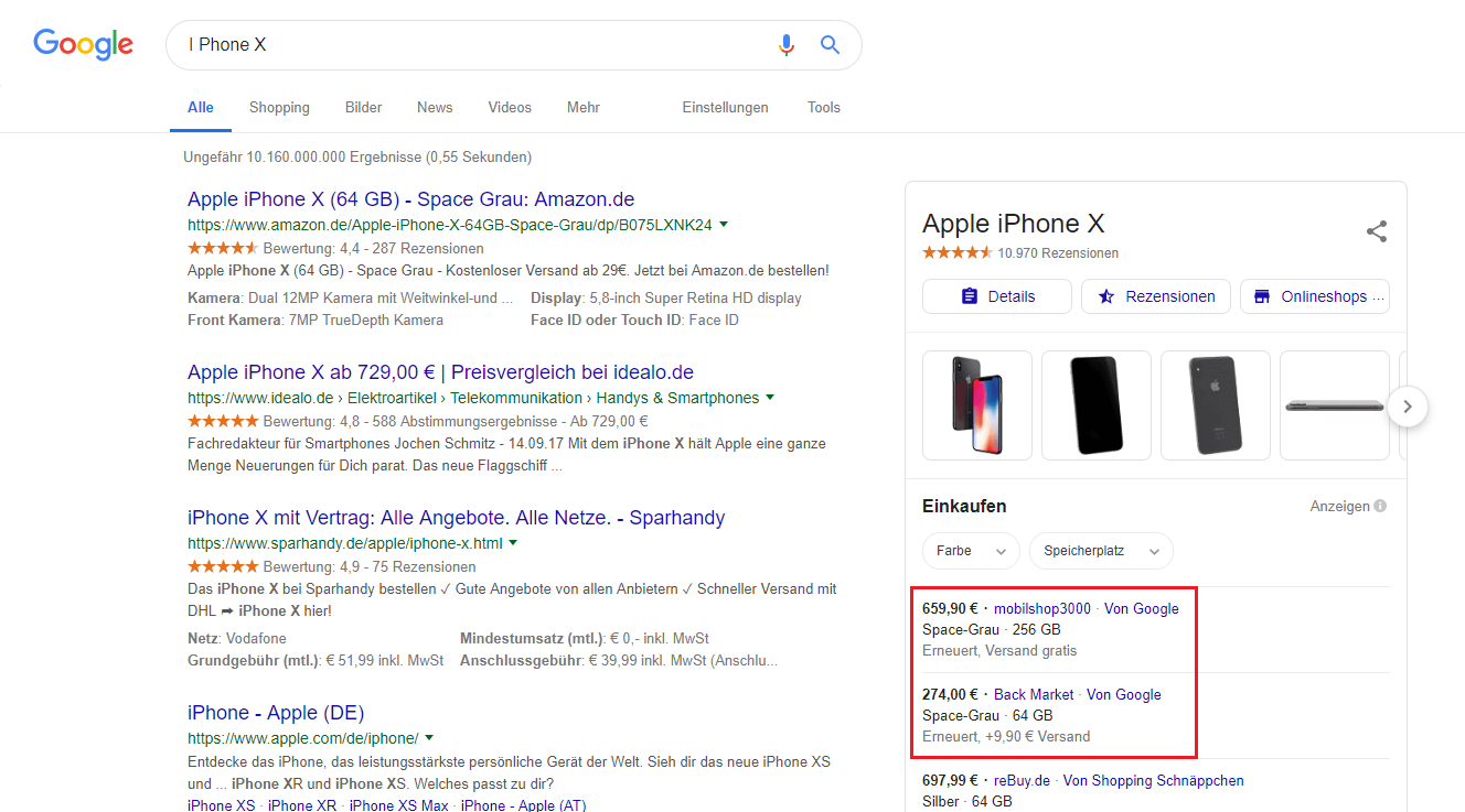 Product Listing Ads: Google Suche nach IPhone X
