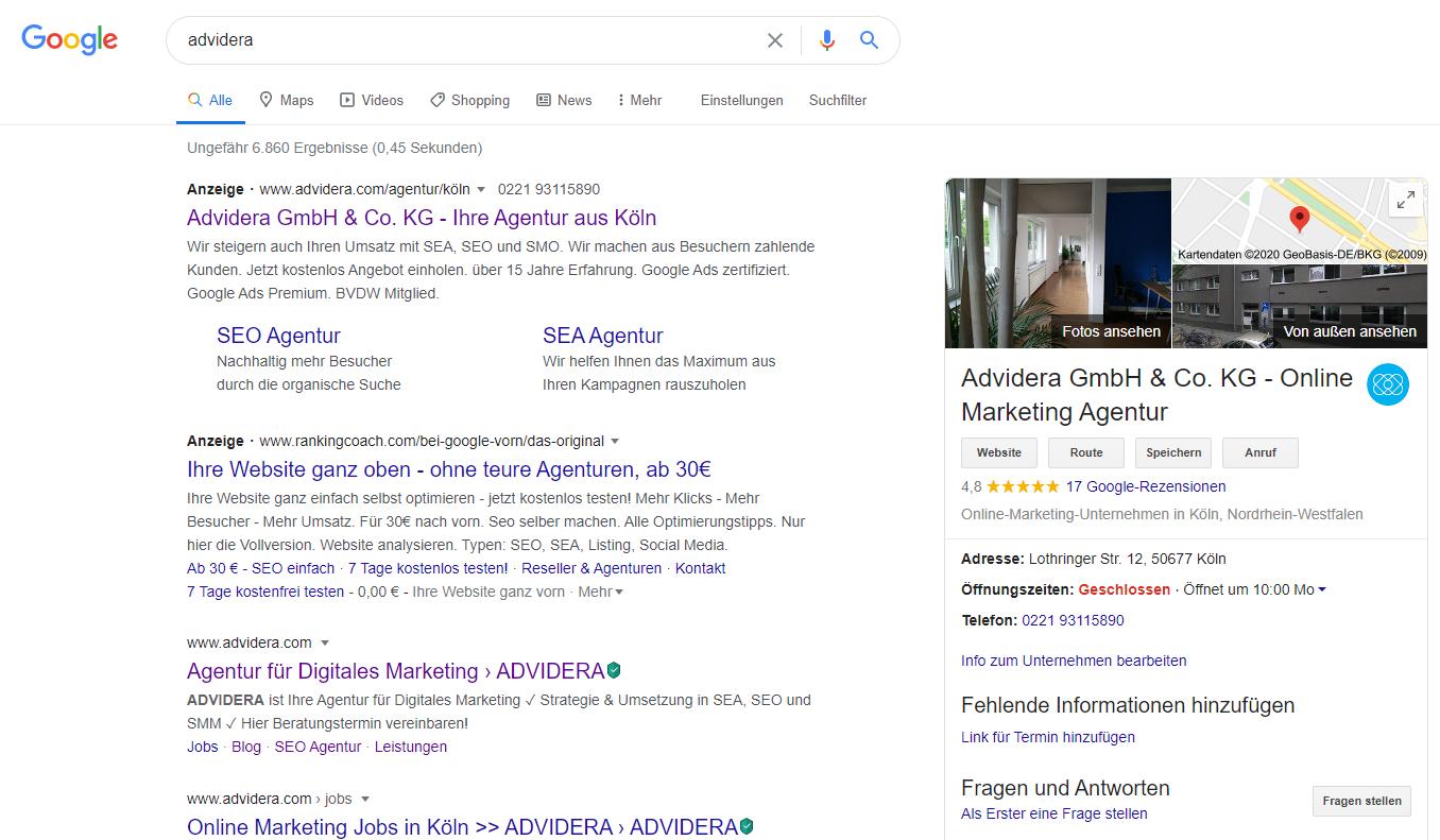 Google My Business Beispiel Advidera