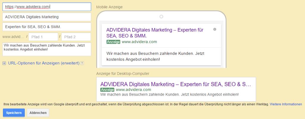 Screenshot: Erstellung von Expanded Text Ad in Google Ads.