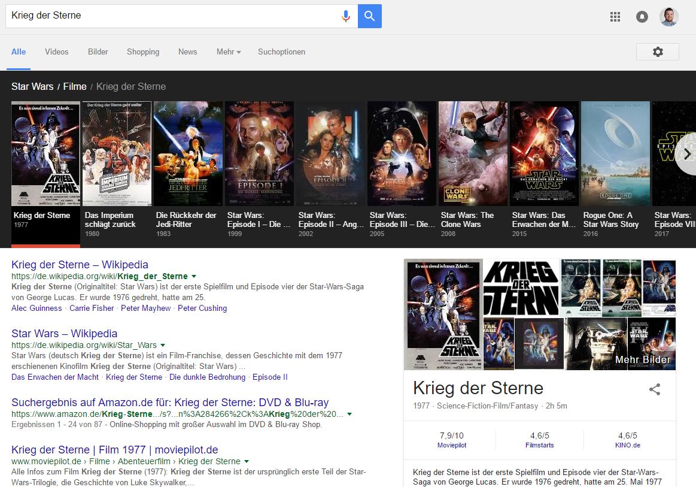 Screenshot: Knowledge Graph Karussell zur Filmreihe Star Wars.