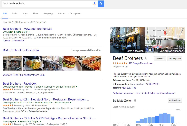"""Screenshot: Knowledge Graph Lokale Unternehmen Ergebnis zu """"Beef Brothers Köln""""."""