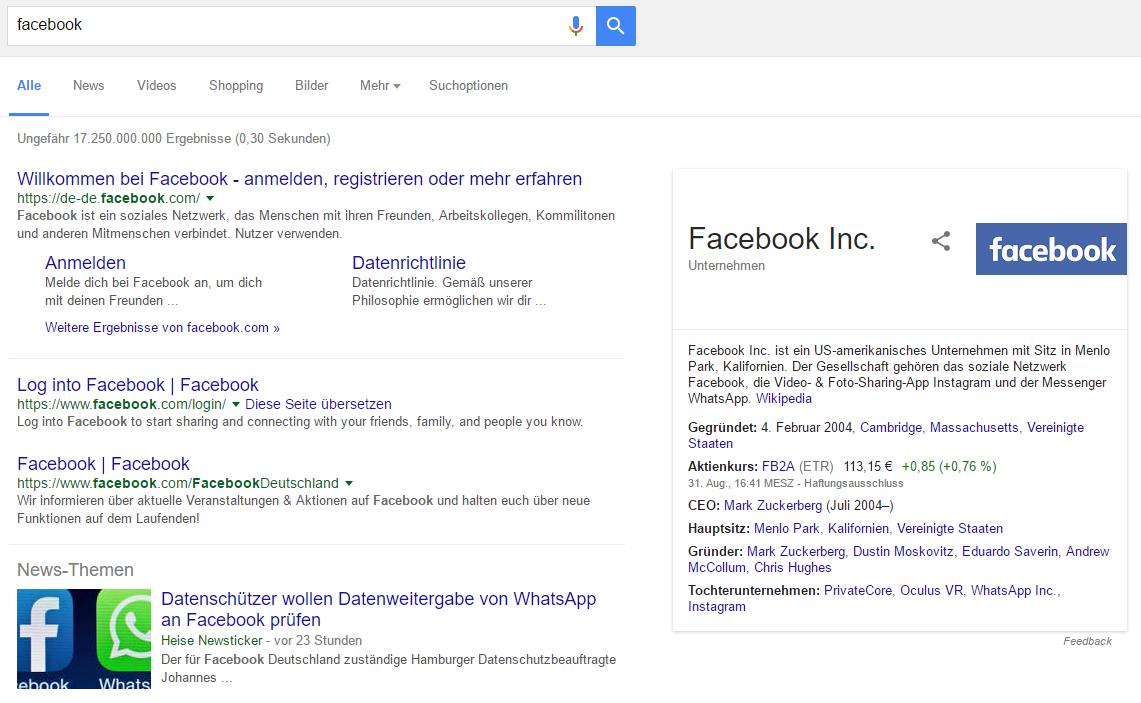 """Screenshot: Knowledge Graph Marken Ergebnis zu """"Facebook""""."""