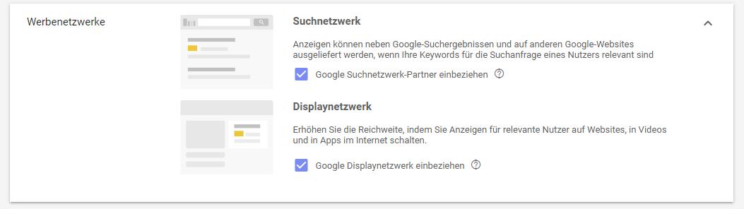 Google Ads Optimierung: Suchnetzwerk mit Displayauswahl