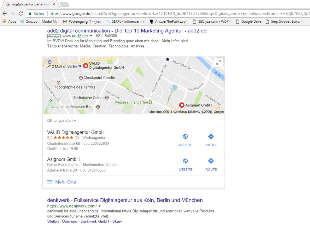 Ansicht von Google My Business Einträgen in Suchmaschinenergebnisseite