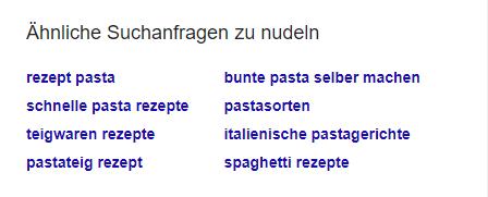 Ähnliche Suchanfragen bei der Google Recherche