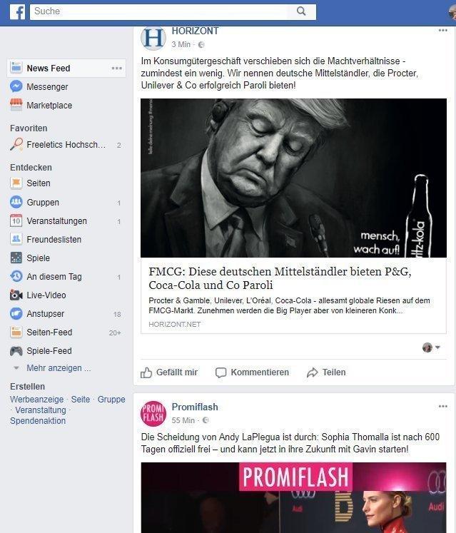 Beispiel Newsfeed in Facebook