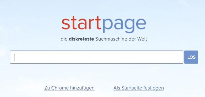 Startpage Suchleiste