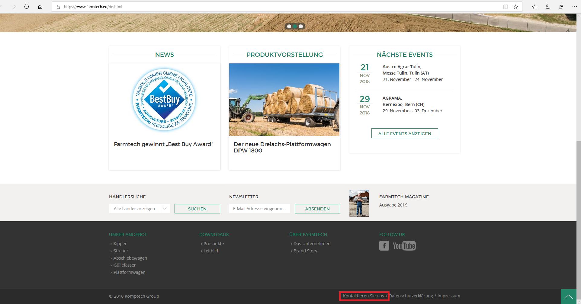 Webseite von Farmtech