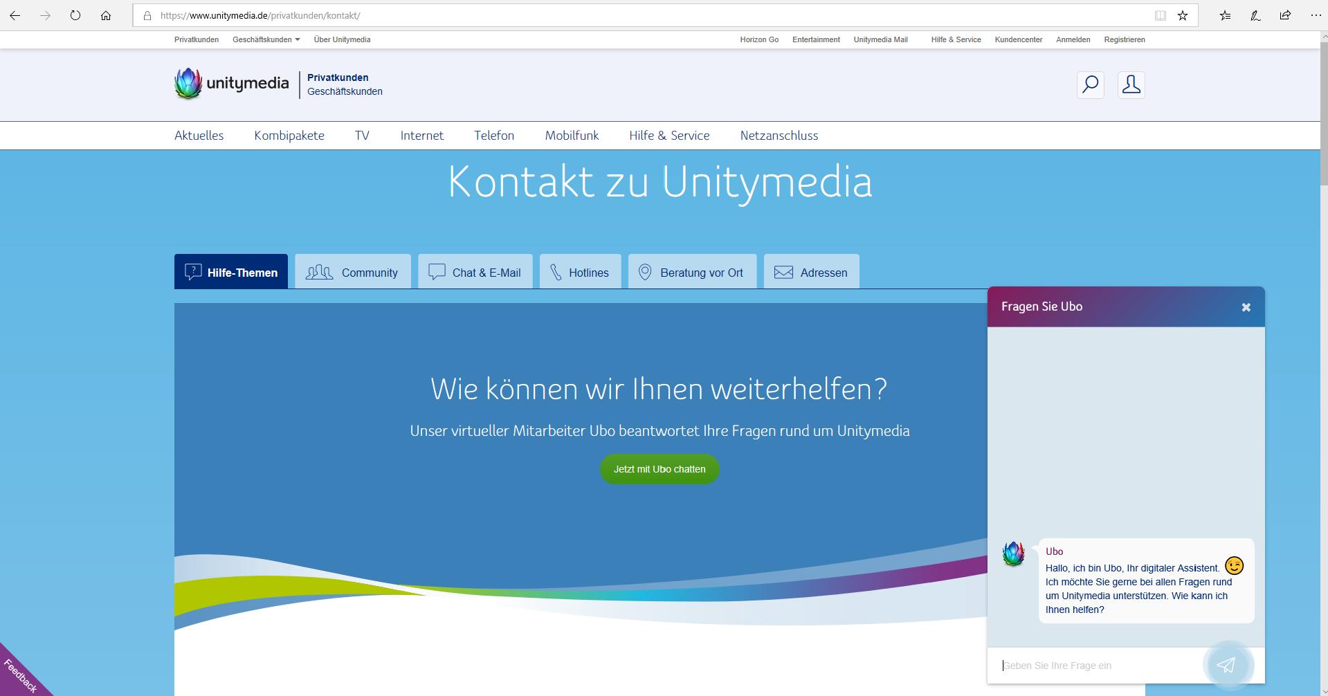 Kontaktseite Unitymedia