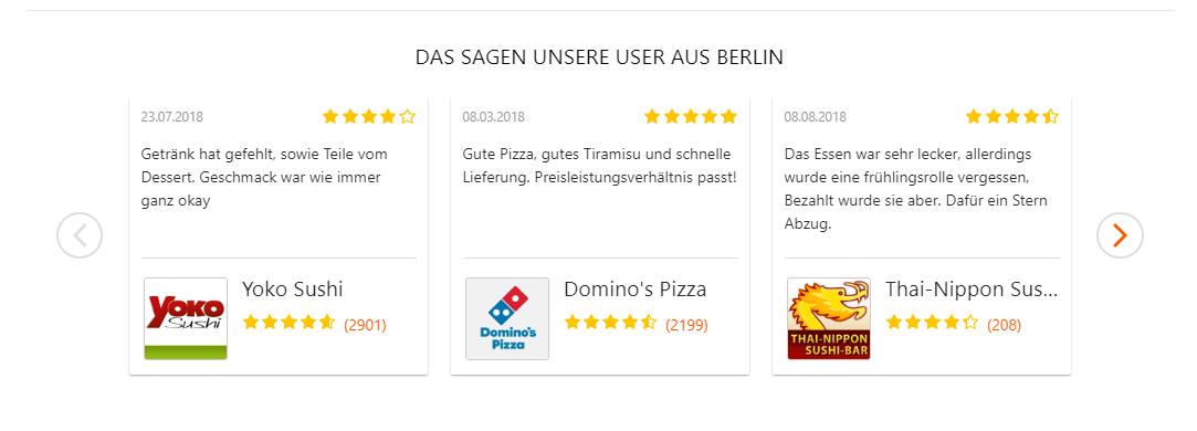 Bewertungen bei Pizza.de