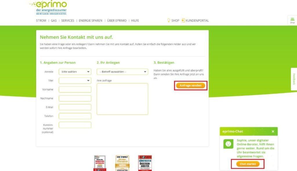 Kontaktseite Eprimo