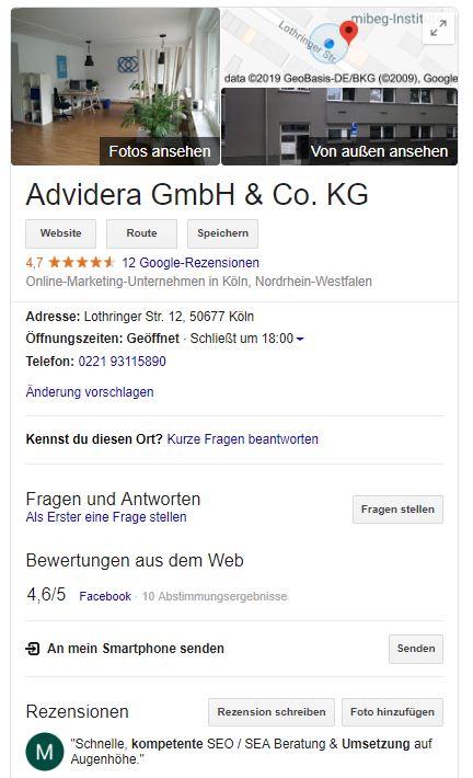 Google My Business-Eintrag von Advidera
