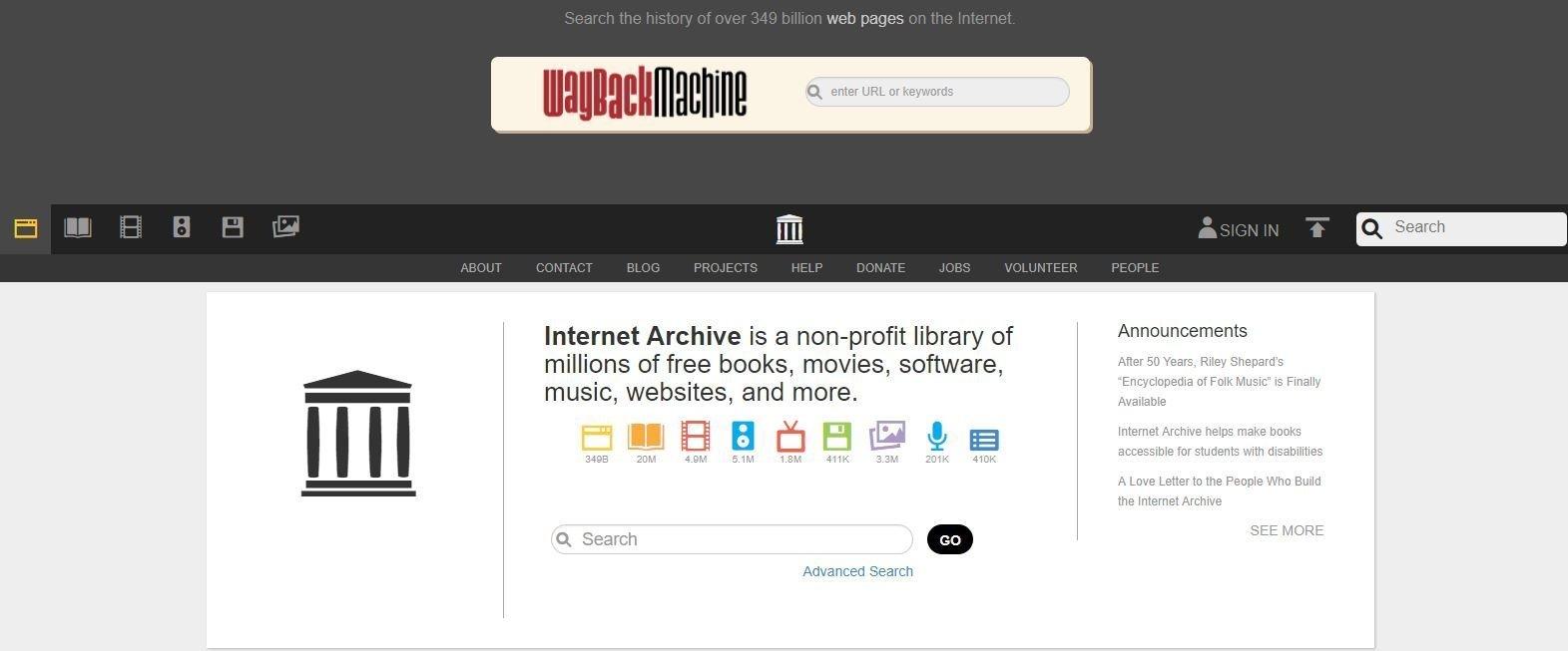 Startseite der Wayback Machine