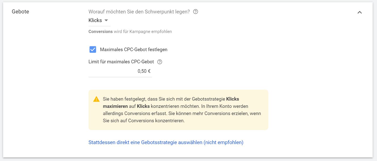 Auswahl der Gebotsstrategie bei Google Ads