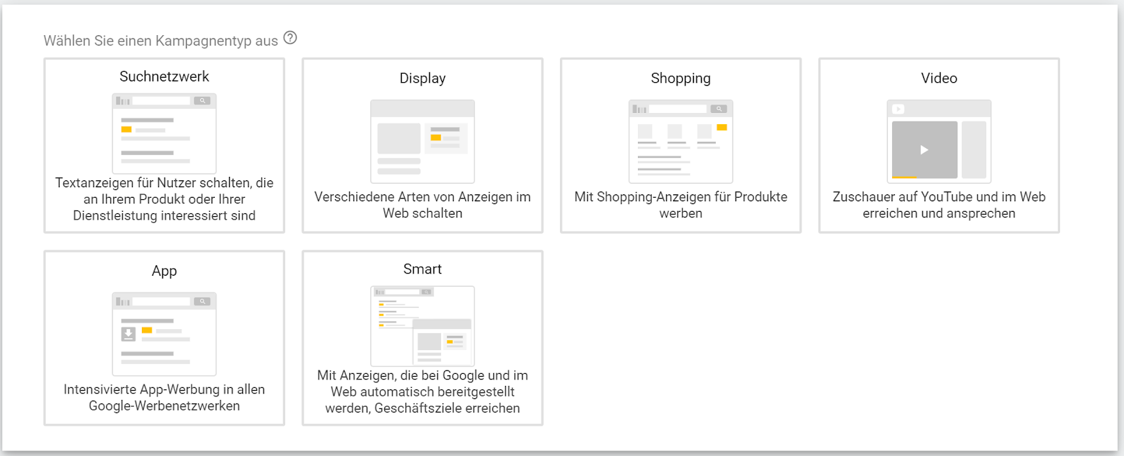 Kampagnentyp bei Google Ads Kampagne auswählen