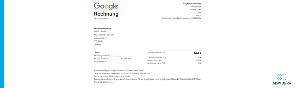 Google Ads Rechnung