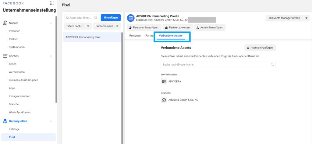 Facebook Pixel in Unternehmenseinstellungen im Business Manager einbinden
