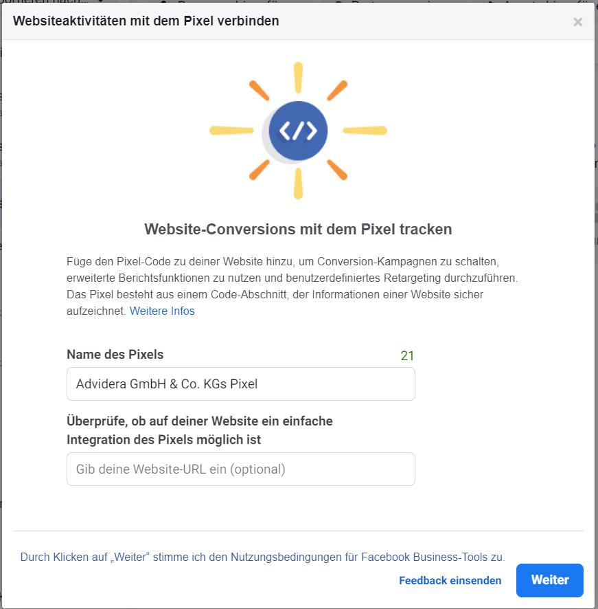 Website-Conversions mit dem Pixel verbinden und tracken