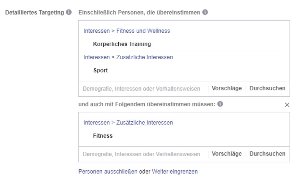Targeting Facebook Werbeanzeigenmanager einstellen
