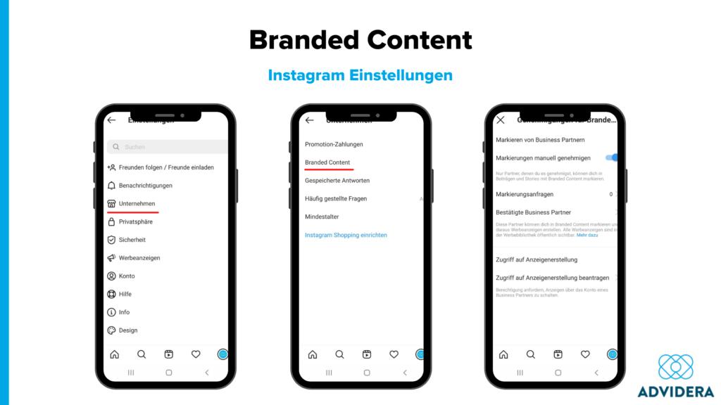 Branded Content Instagram Einstellungen