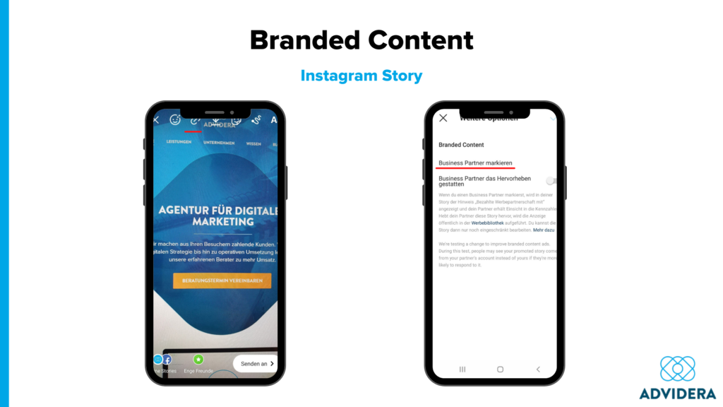Branded Content Instagram Story