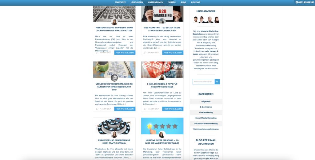 Beispiel Marketing Blogs Advidera