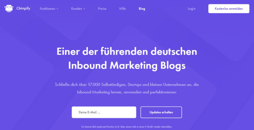 Beispiel Marketing Blogs Chimpify