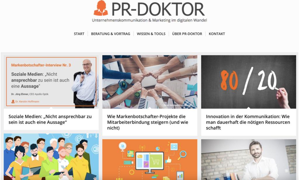 Beispiel Marketing Blogs PR Doktor