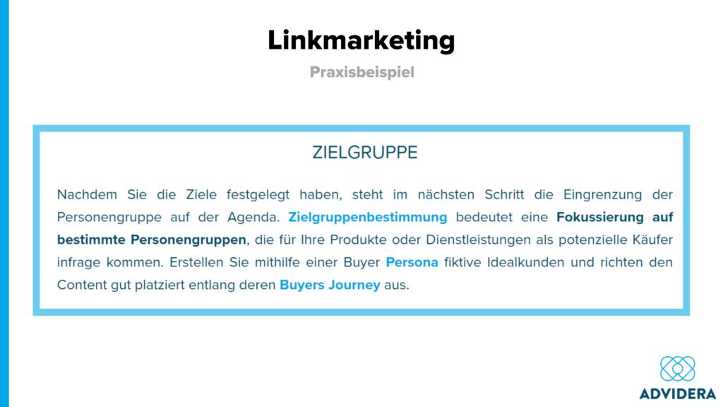 Linkmarketing interne Links Beispiel Advidera
