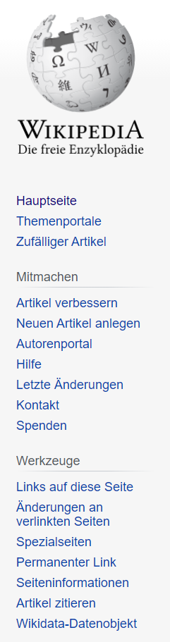 Wikipedia Backlinks Menüleiste
