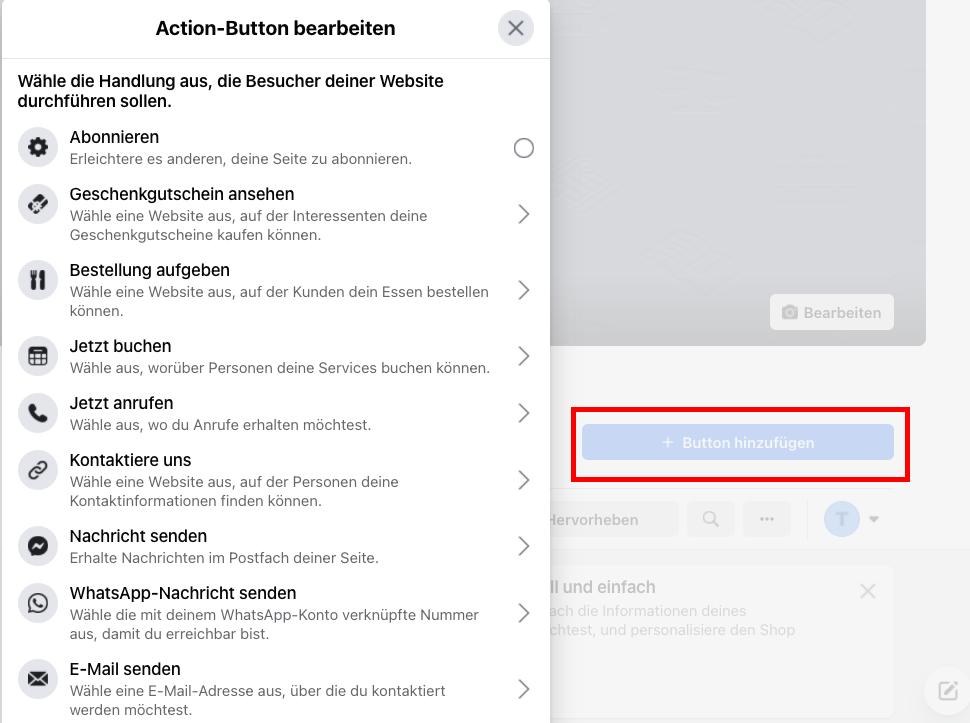 CTA Button hinzufügen_Facebook Unternehmensseite