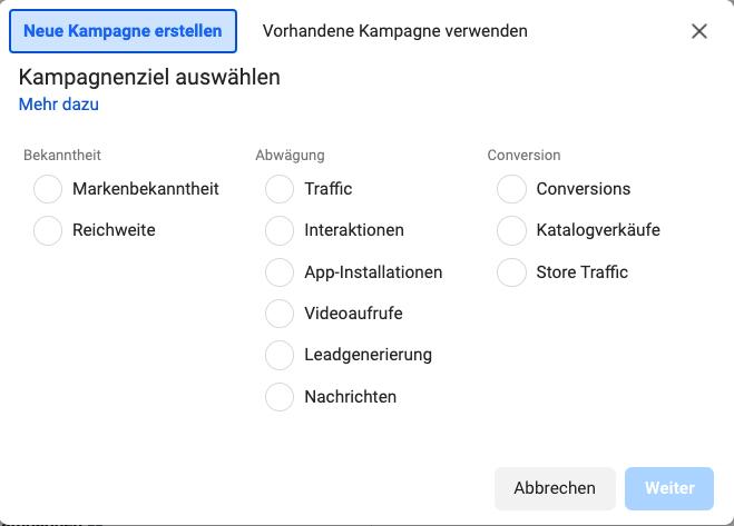 Kampagnenziel auswählen_Facebook Werbung schalten