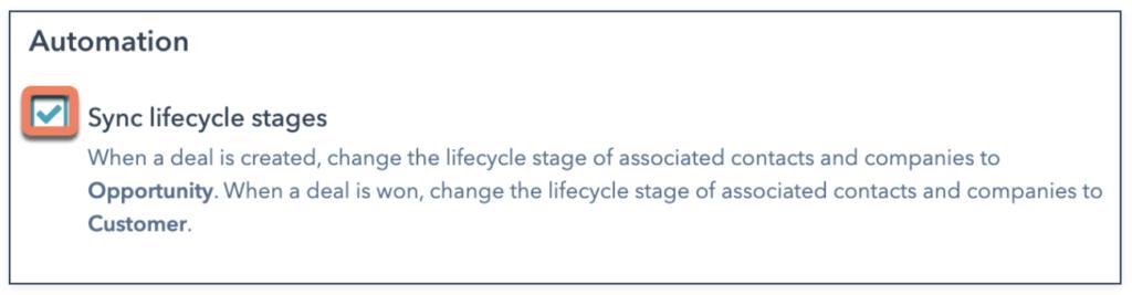 Einstellung Hub Spot lifecycle stage Synchronisation