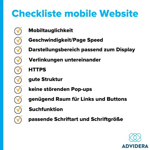 Mobile SEO Checkliste mobile Website