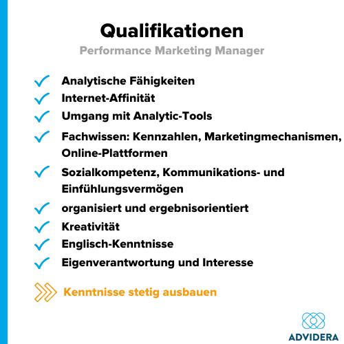 Performance Marketing Manager Qualifikationen