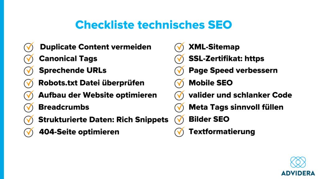 Checkliste technisches SEO